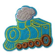 LIGHT BLUE TRAIN MOTIF IRON ON EMBROIDERED PATCH APPLIQUE